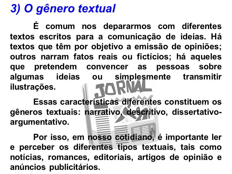 3) O gênero textual É comum nos depararmos com diferentes textos escritos para a comunicação de ideias. Há textos que têm por objetivo a emissão de op