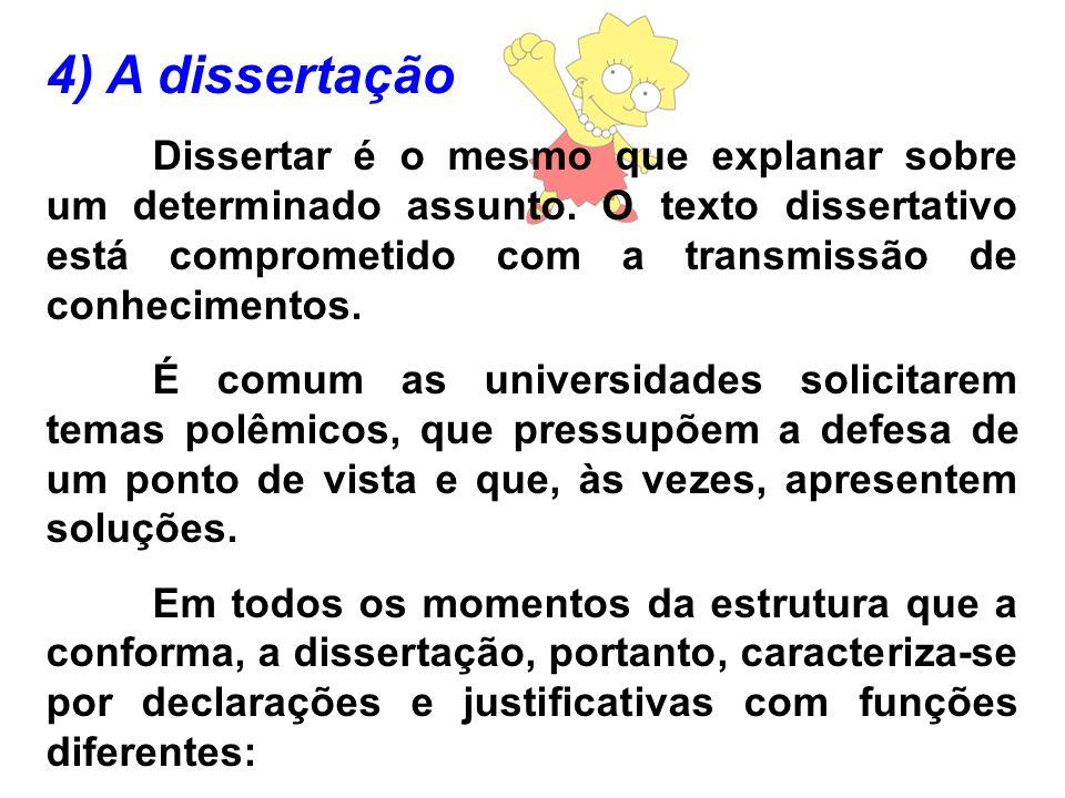 4) A dissertação Dissertar é o mesmo que explanar sobre um determinado assunto. O texto dissertativo está comprometido com a transmissão de conhecimen