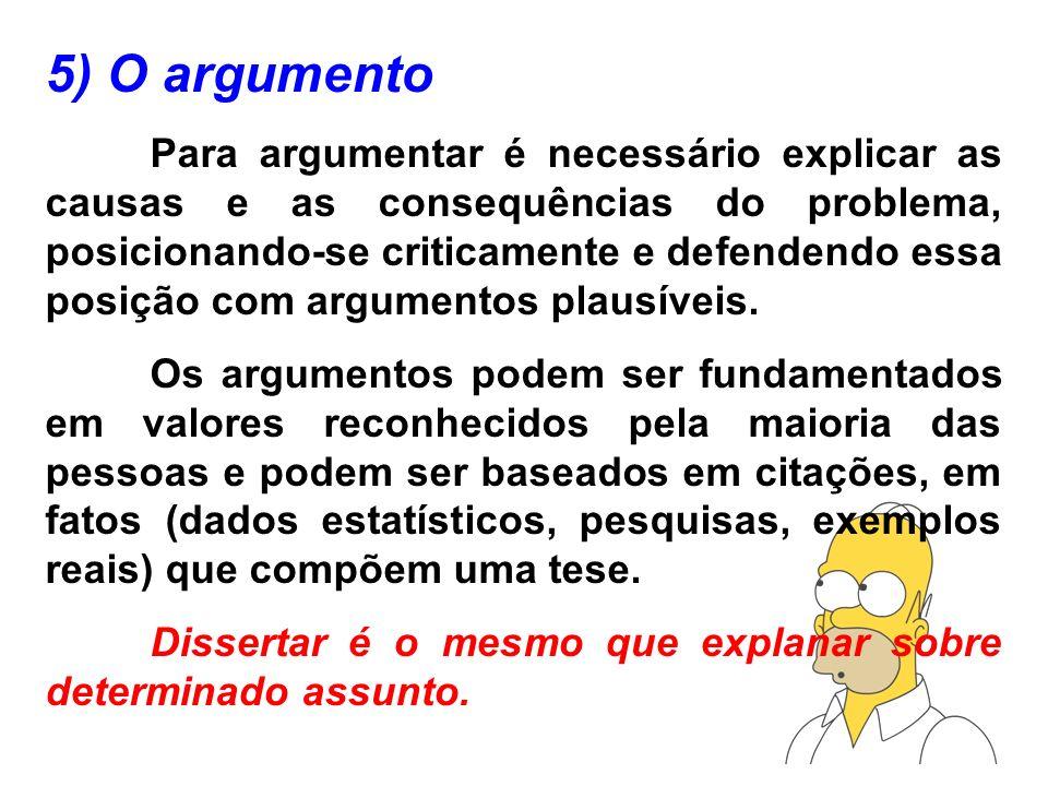 5) O argumento Para argumentar é necessário explicar as causas e as consequências do problema, posicionando-se criticamente e defendendo essa posição