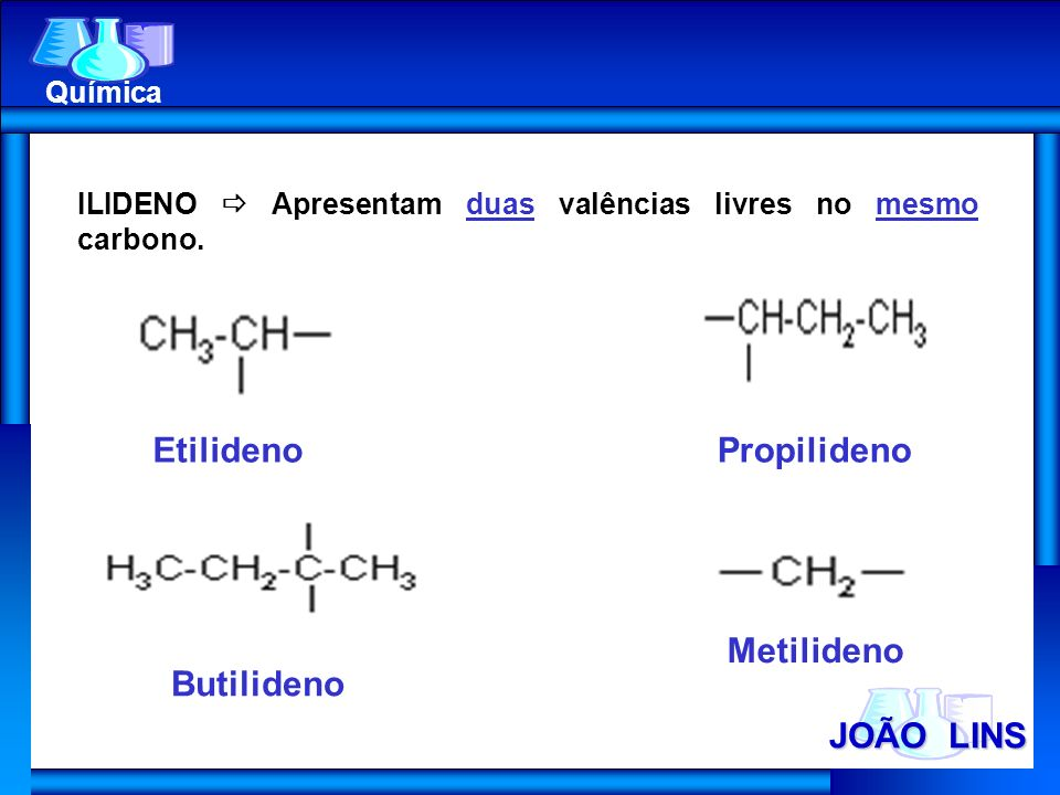 JOÃO LINS Química ILIDENO Apresentam duas valências livres no mesmo carbono. EtilidenoPropilideno Butilideno Metilideno