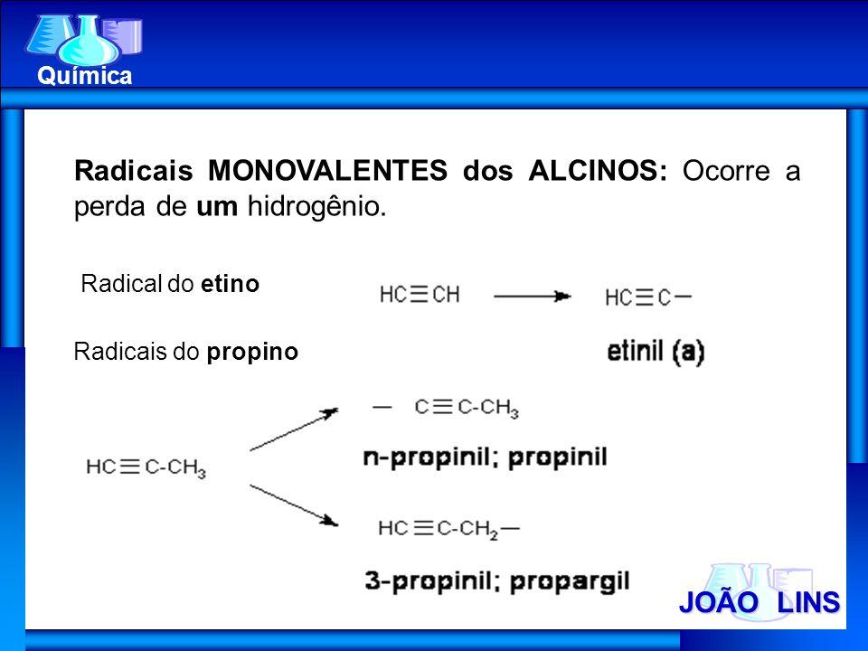 JOÃO LINS Química Radicais MONOVALENTES dos ALCINOS: Ocorre a perda de um hidrogênio. Radical do etino Radicais do propino