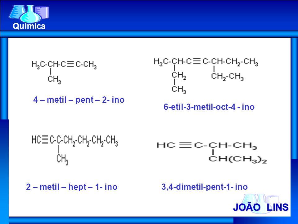 JOÃO LINS Química 3,4-dimetil-pent-1- ino 6-etil-3-metil-oct-4 - ino 2 – metil – hept – 1- ino 4 – metil – pent – 2- ino