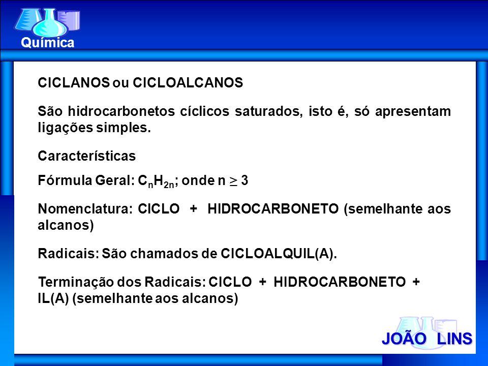 CICLANOS ou CICLOALCANOS São hidrocarbonetos cíclicos saturados, isto é, só apresentam ligações simples. Características Fórmula Geral: C n H 2n ; ond