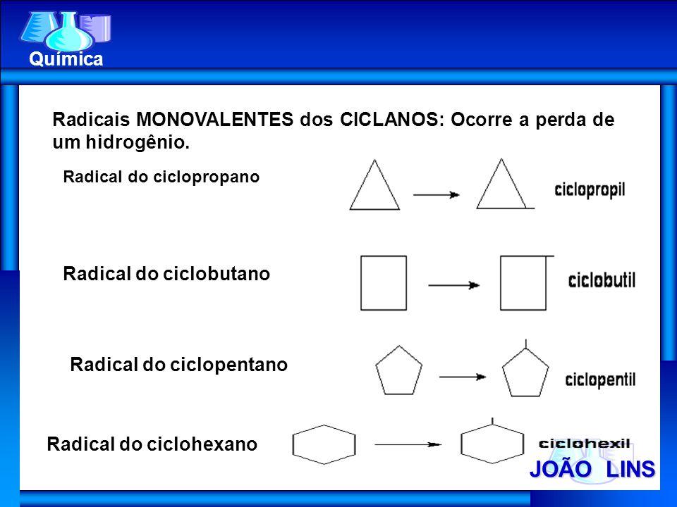 JOÃO LINS Química Radicais MONOVALENTES dos CICLANOS: Ocorre a perda de um hidrogênio. Radical do ciclopropano Radical do ciclobutano Radical do ciclo