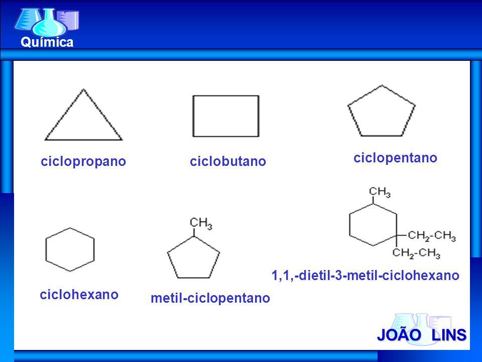 JOÃO LINS Química ciclopropanociclobutano ciclopentano ciclohexano metil-ciclopentano 1,1,-dietil-3-metil-ciclohexano