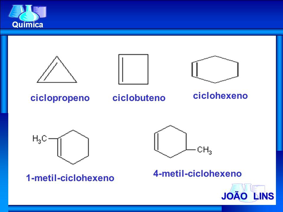 JOÃO LINS Química ciclopropenociclobuteno ciclohexeno 1-metil-ciclohexeno 4-metil-ciclohexeno