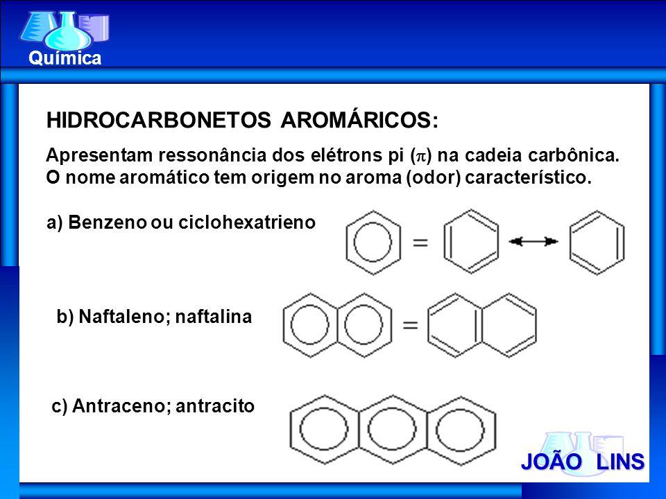 JOÃO LINS Química HIDROCARBONETOS AROMÁRICOS: Apresentam ressonância dos elétrons pi ( ) na cadeia carbônica. O nome aromático tem origem no aroma (od
