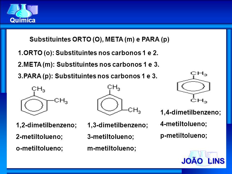 JOÃO LINS Química Substituintes ORTO (O), META (m) e PARA (p) 1.ORTO (o): Substituintes nos carbonos 1 e 2. 2.META (m): Substituintes nos carbonos 1 e