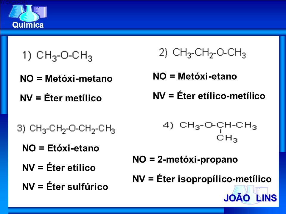JOÃO LINS Química NO = Metóxi-metano NV = Éter metílico NO = Metóxi-etano NV = Éter etílico-metílico NO = Etóxi-etano NV = Éter etílico NV = Éter sulf
