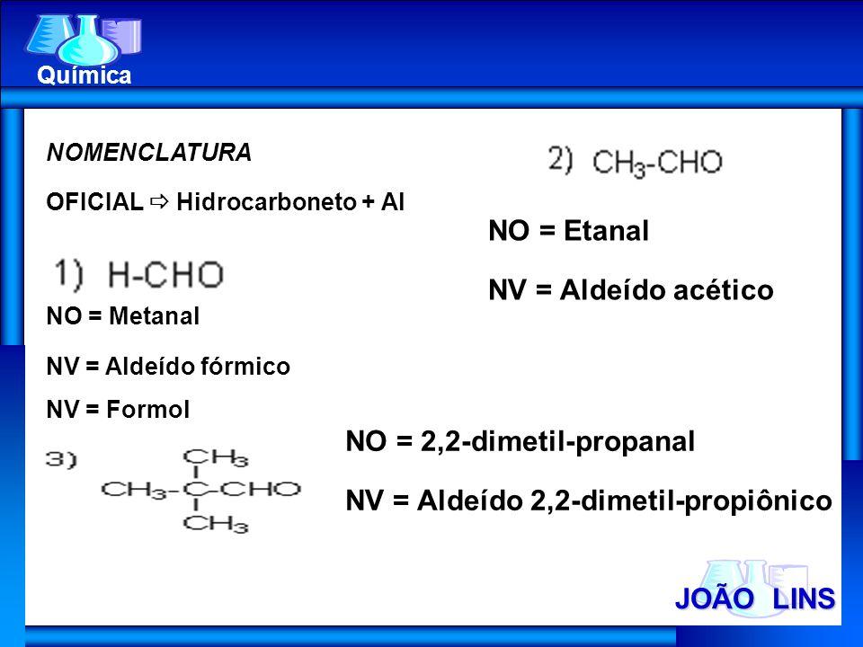 JOÃO LINS Química NOMENCLATURA OFICIAL Hidrocarboneto + Al NO = Metanal NV = Aldeído fórmico NV = Formol NO = Etanal NV = Aldeído acético NO = 2,2-dim