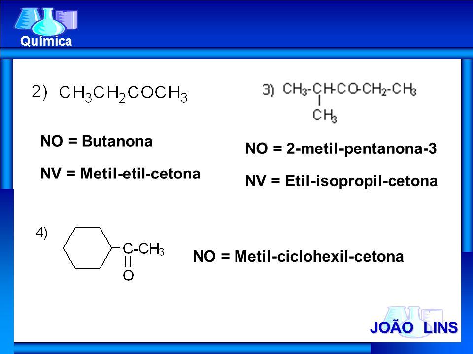 JOÃO LINS Química NO = Butanona NV = Metil-etil-cetona NO = 2-metil-pentanona-3 NV = Etil-isopropil-cetona NO = Metil-ciclohexil-cetona