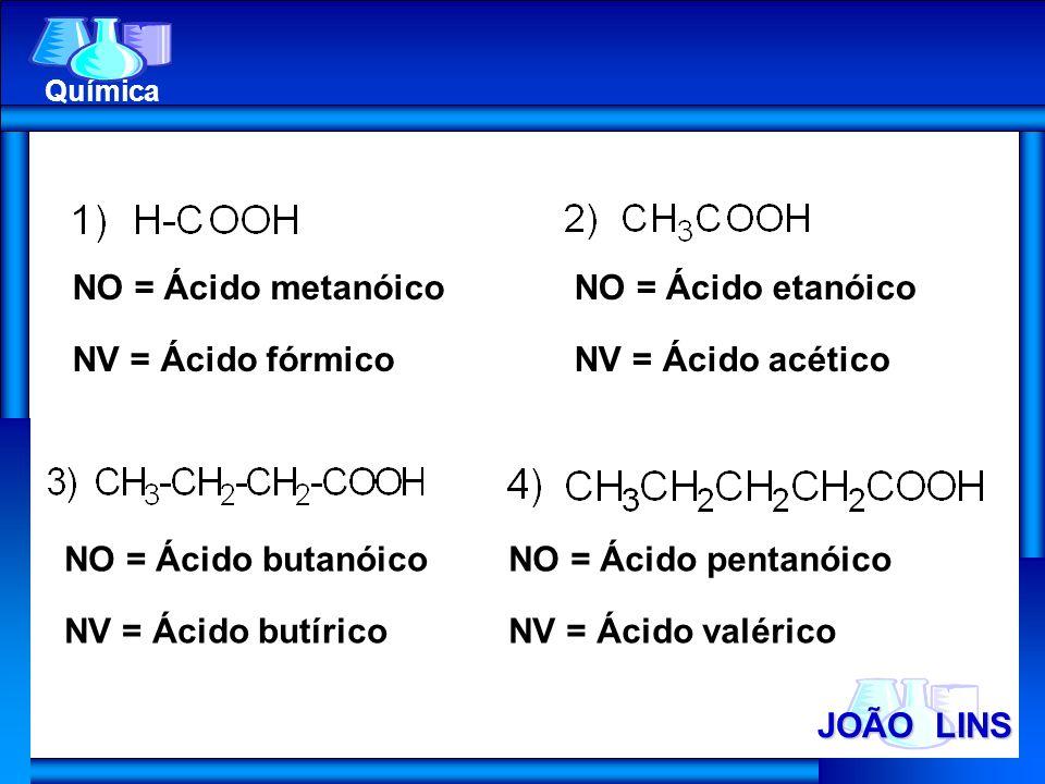 JOÃO LINS Química NO = Ácido metanóico NV = Ácido fórmico NO = Ácido etanóico NV = Ácido acético NO = Ácido butanóico NV = Ácido butírico NO = Ácido p
