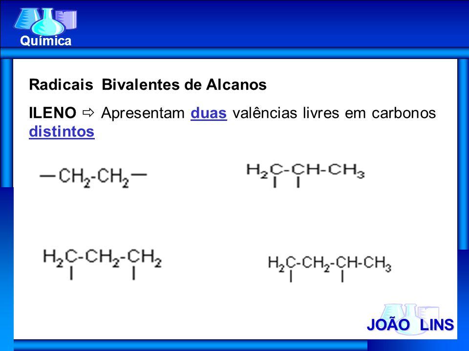 JOÃO LINS Química Radicais Bivalentes de Alcanos ILENO Apresentam duas valências livres em carbonos distintos