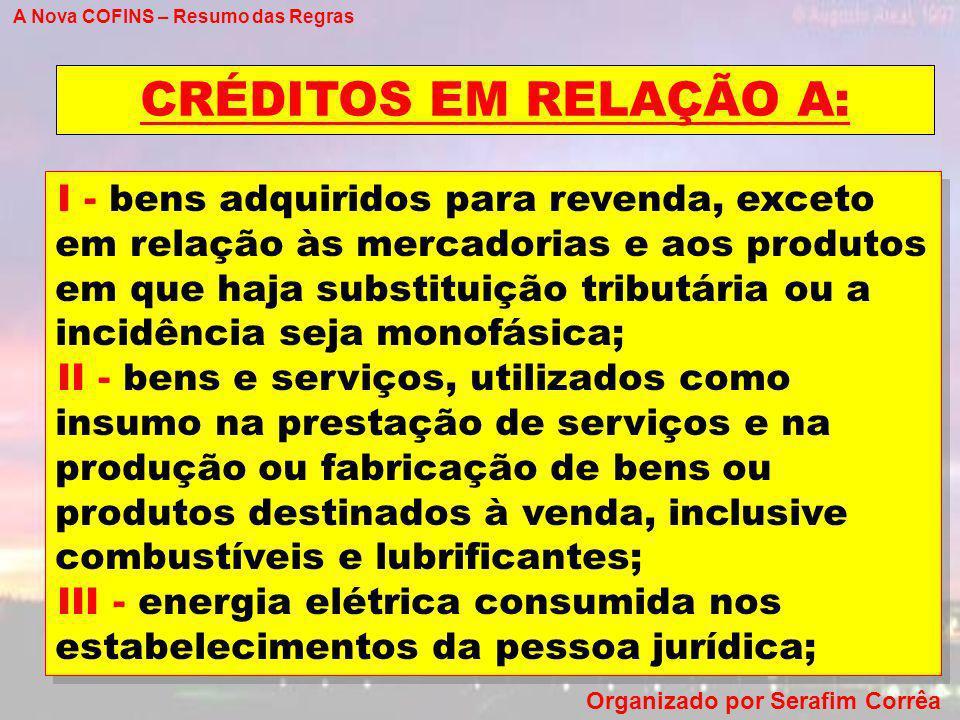 A Nova COFINS – Resumo das Regras Organizado por Serafim Corrêa CRÉDITOS EM RELAÇÃO A: I - bens adquiridos para revenda, exceto em relação às mercador