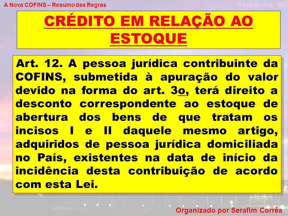 A Nova COFINS – Resumo das Regras Organizado por Serafim Corrêa CRÉDITO EM RELAÇÃO AO ESTOQUE Art. 12. A pessoa jurídica contribuinte da COFINS, subme
