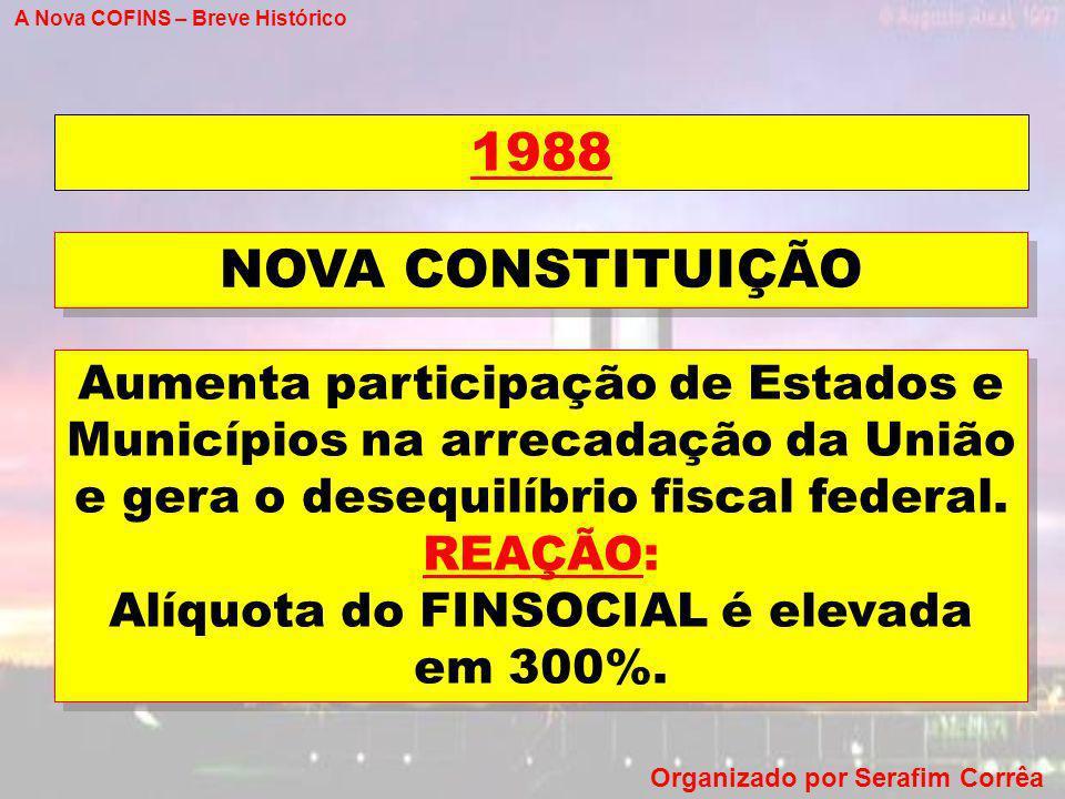A Nova COFINS – Breve Histórico Organizado por Serafim Corrêa 1988 Aumenta participação de Estados e Municípios na arrecadação da União e gera o deseq