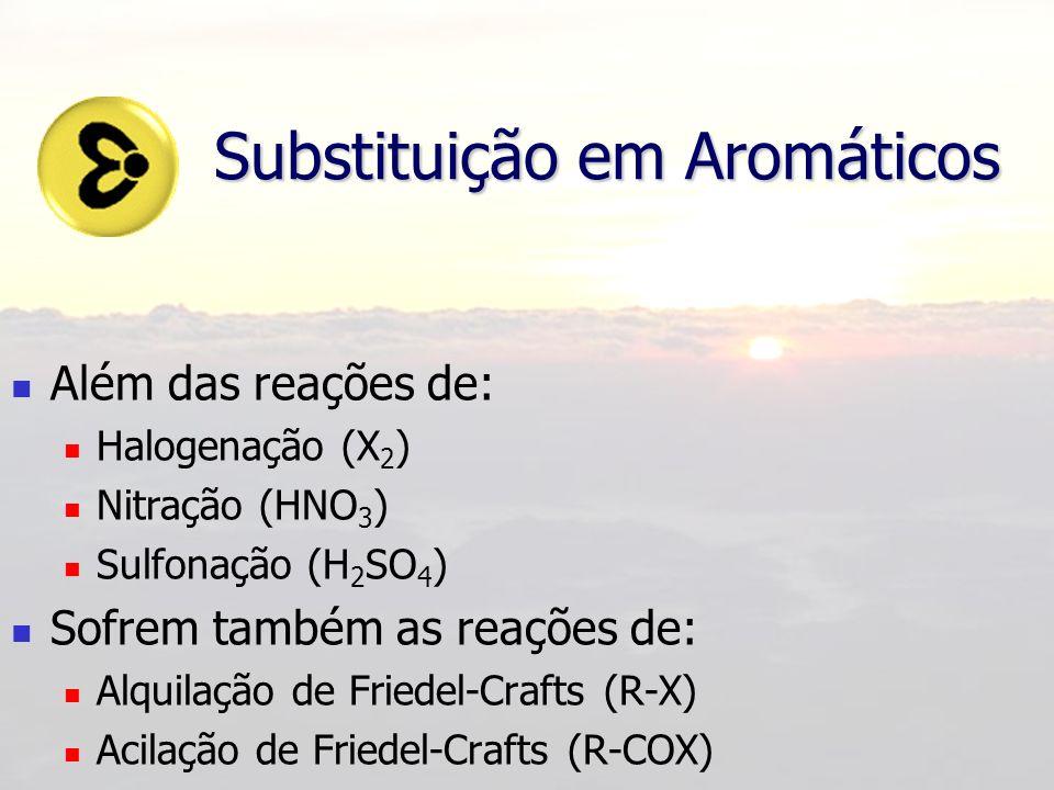 Substituição em Aromáticos Além das reações de: Halogenação (X 2 ) Nitração (HNO 3 ) Sulfonação (H 2 SO 4 ) Sofrem também as reações de: Alquilação de