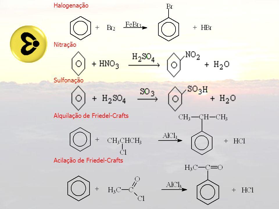 Dirigência em Aromáticos GRUPOS META DIRIGENTES –NO 2 –NR 3 + –CN –COOH –COOC –SO 3 H –CHO Não apresentam elétrons livres no átomo ligado ao anel aromático.