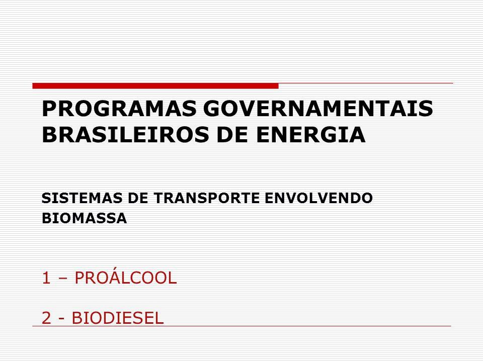 PROGRAMAS GOVERNAMENTAIS BRASILEIROS DE ENERGIA SISTEMAS DE TRANSPORTE ENVOLVENDO BIOMASSA 1 – PROÁLCOOL 2 - BIODIESEL