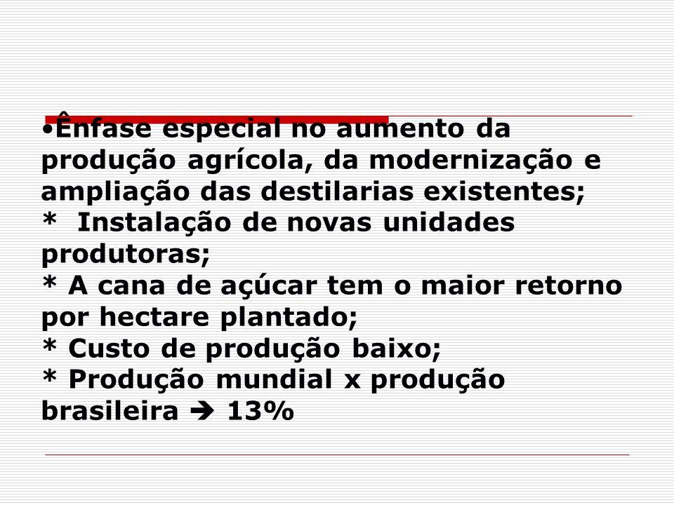 Ênfase especial no aumento da produção agrícola, da modernização e ampliação das destilarias existentes; * Instalação de novas unidades produtoras; *