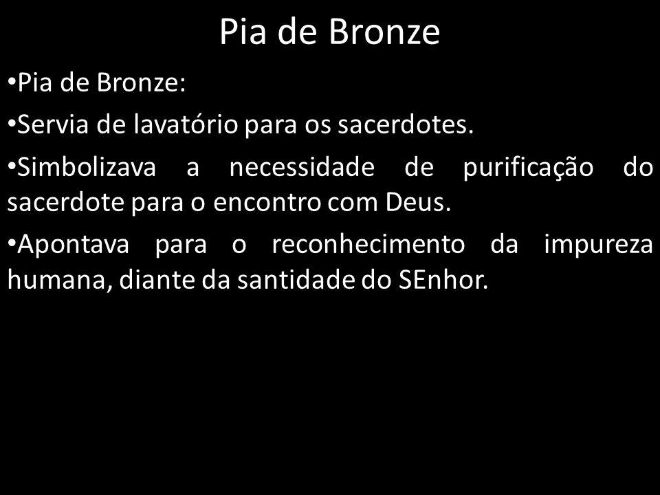 Pia de Bronze Pia de Bronze: Servia de lavatório para os sacerdotes. Simbolizava a necessidade de purificação do sacerdote para o encontro com Deus. A