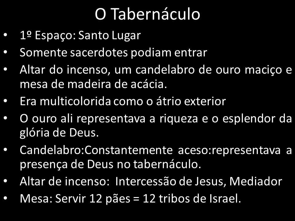 O Tabernáculo 1º Espaço: Santo Lugar Somente sacerdotes podiam entrar Altar do incenso, um candelabro de ouro maciço e mesa de madeira de acácia. Era