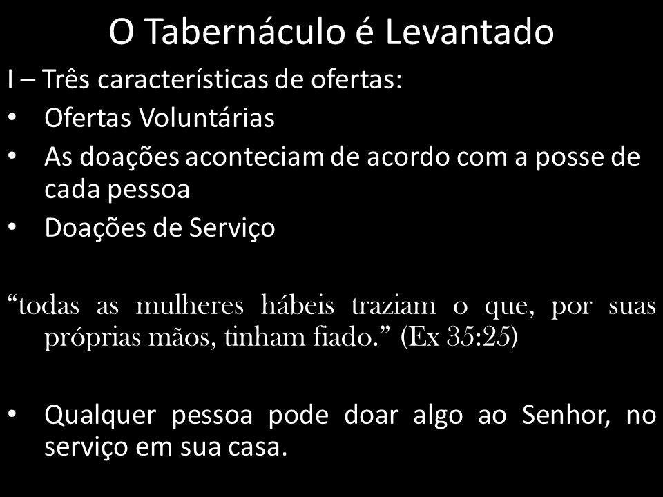 O Tabernáculo é Levantado I – Três características de ofertas: Ofertas Voluntárias As doações aconteciam de acordo com a posse de cada pessoa Doações