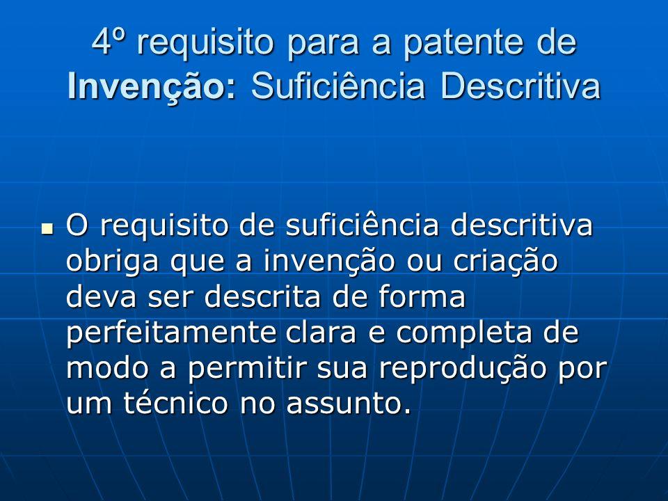 4º requisito para a patente de Invenção: Suficiência Descritiva O requisito de suficiência descritiva obriga que a invenção ou criação deva ser descri