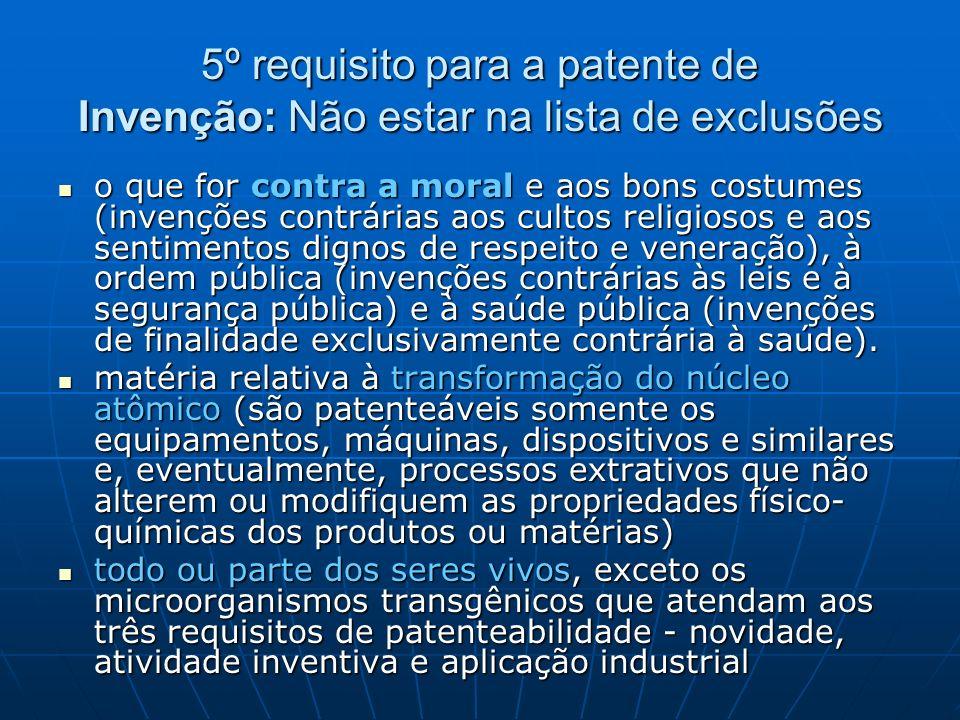 5º requisito para a patente de Invenção: Não estar na lista de exclusões o que for contra a moral e aos bons costumes (invenções contrárias aos cultos