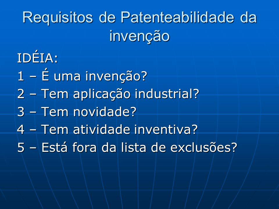 Requisitos de Patenteabilidade da invenção IDÉIA: 1 – É uma invenção? 2 – Tem aplicação industrial? 3 – Tem novidade? 4 – Tem atividade inventiva? 5 –