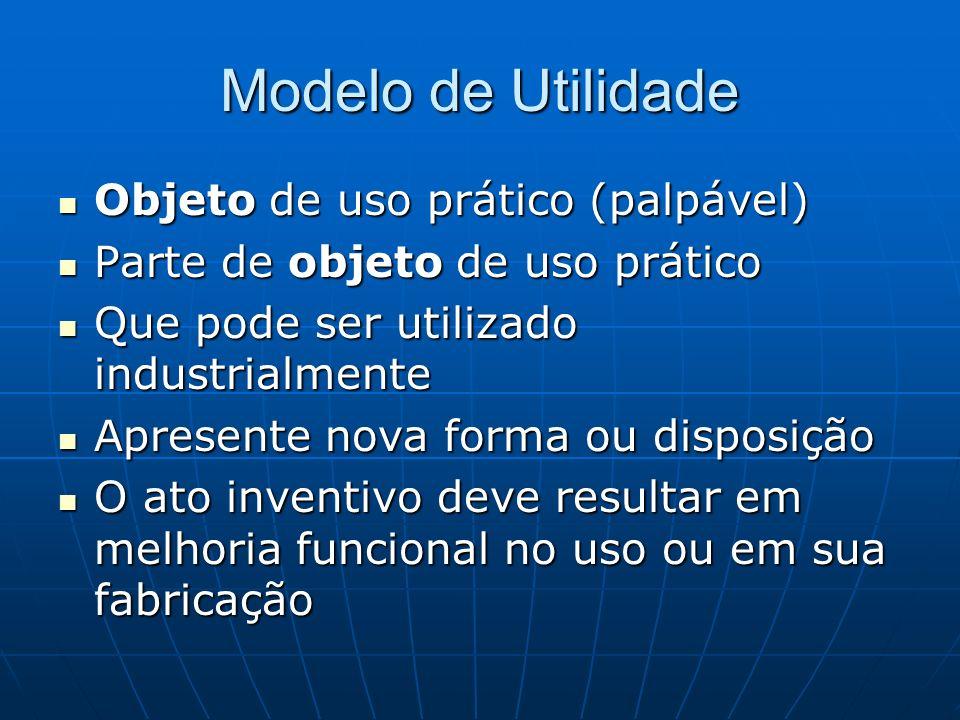 Modelo de Utilidade Objeto de uso prático (palpável) Objeto de uso prático (palpável) Parte de objeto de uso prático Parte de objeto de uso prático Qu
