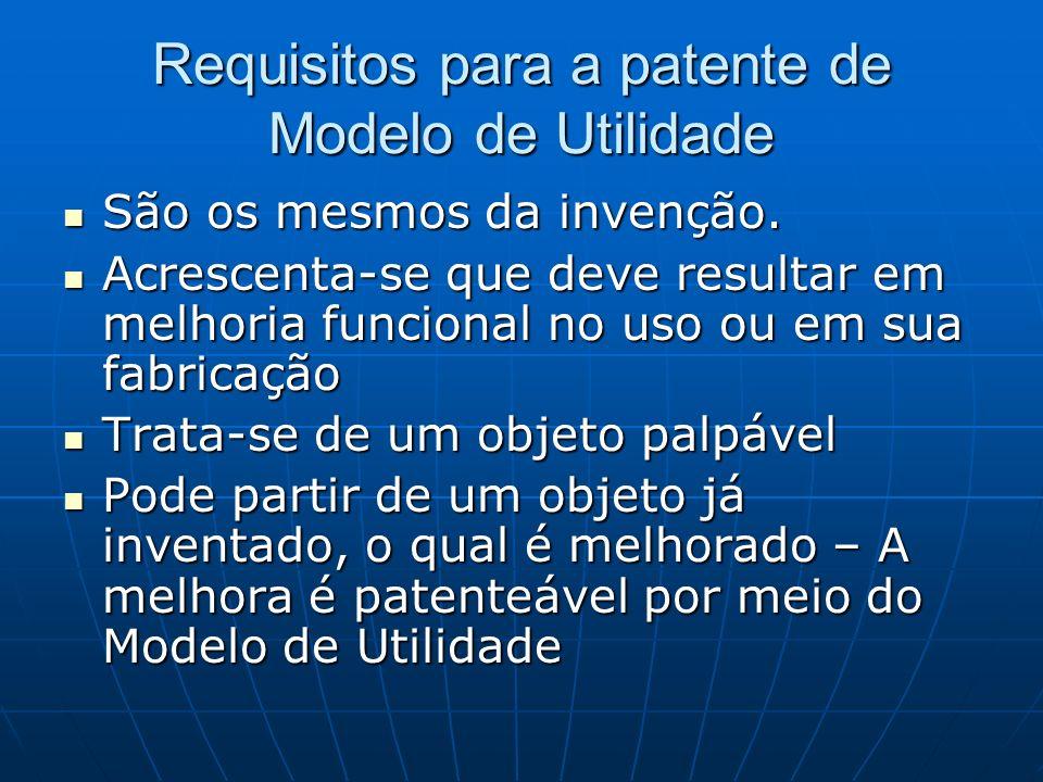 Requisitos para a patente de Modelo de Utilidade São os mesmos da invenção. São os mesmos da invenção. Acrescenta-se que deve resultar em melhoria fun