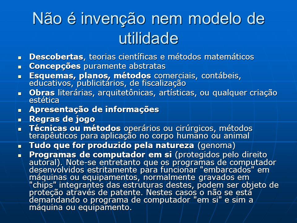 Não é invenção nem modelo de utilidade Descobertas, teorias científicas e métodos matemáticos Descobertas, teorias científicas e métodos matemáticos C