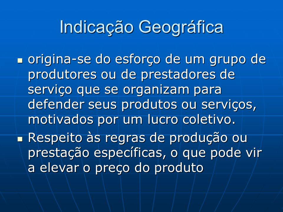Indicação Geográfica origina-se do esforço de um grupo de produtores ou de prestadores de serviço que se organizam para defender seus produtos ou serv