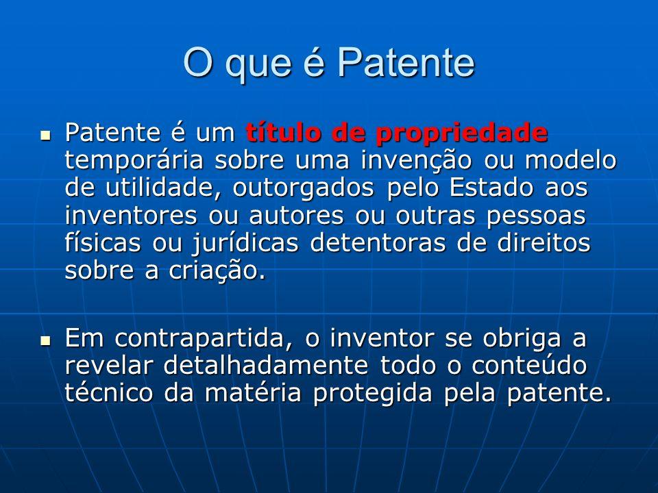 O que é Patente Patente é um título de propriedade temporária sobre uma invenção ou modelo de utilidade, outorgados pelo Estado aos inventores ou auto