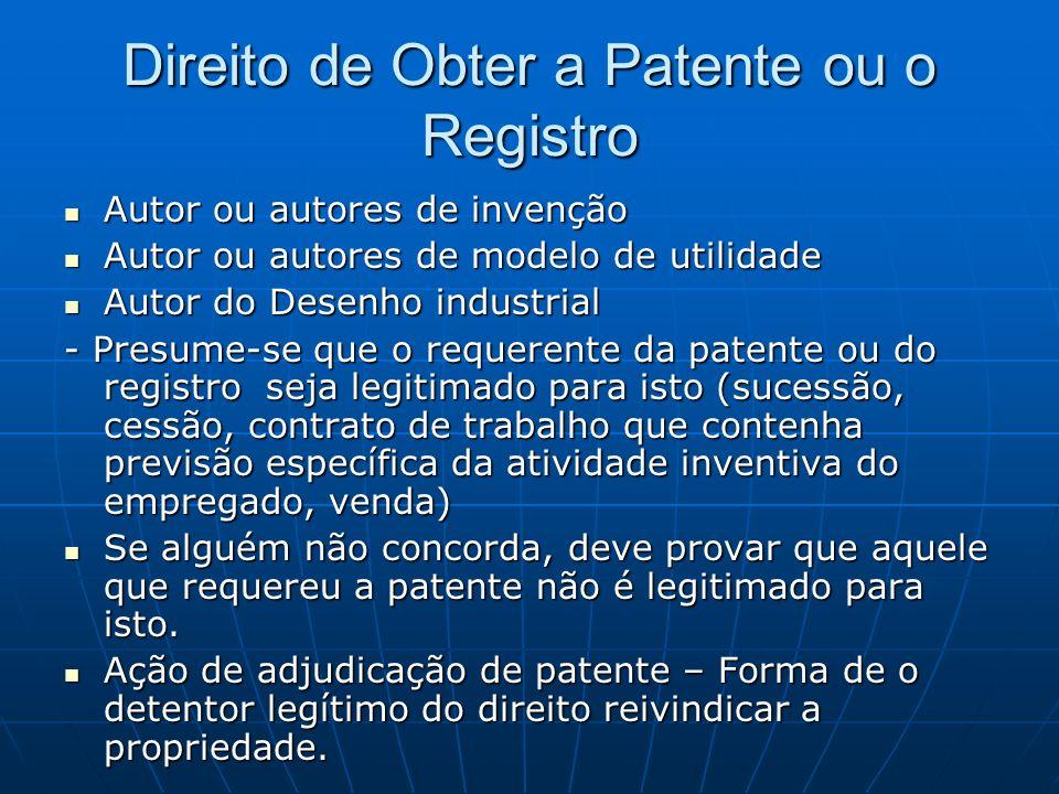 Direito de Obter a Patente ou o Registro Autor ou autores de invenção Autor ou autores de invenção Autor ou autores de modelo de utilidade Autor ou au