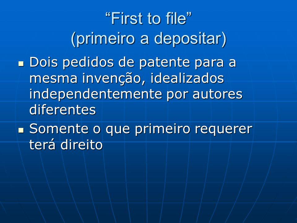 First to file (primeiro a depositar) Dois pedidos de patente para a mesma invenção, idealizados independentemente por autores diferentes Dois pedidos