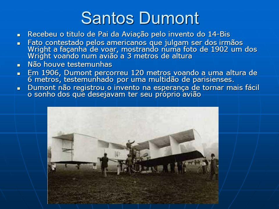 Santos Dumont Recebeu o titulo de Pai da Aviação pelo invento do 14-Bis Recebeu o titulo de Pai da Aviação pelo invento do 14-Bis Fato contestado pelo