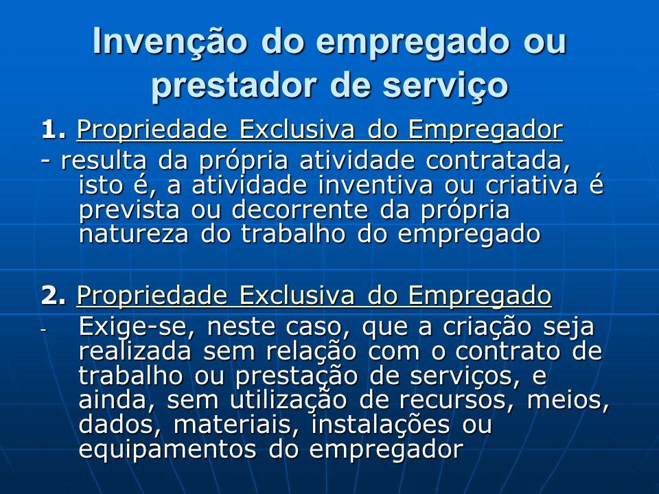 Invenção do empregado ou prestador de serviço 1. Propriedade Exclusiva do Empregador Propriedade Exclusiva do EmpregadorPropriedade Exclusiva do Empre