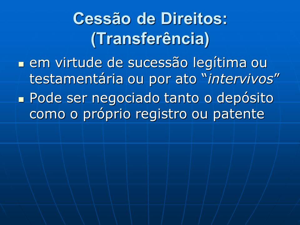 Cessão de Direitos: (Transferência) em virtude de sucessão legítima ou testamentária ou por ato intervivos em virtude de sucessão legítima ou testamen