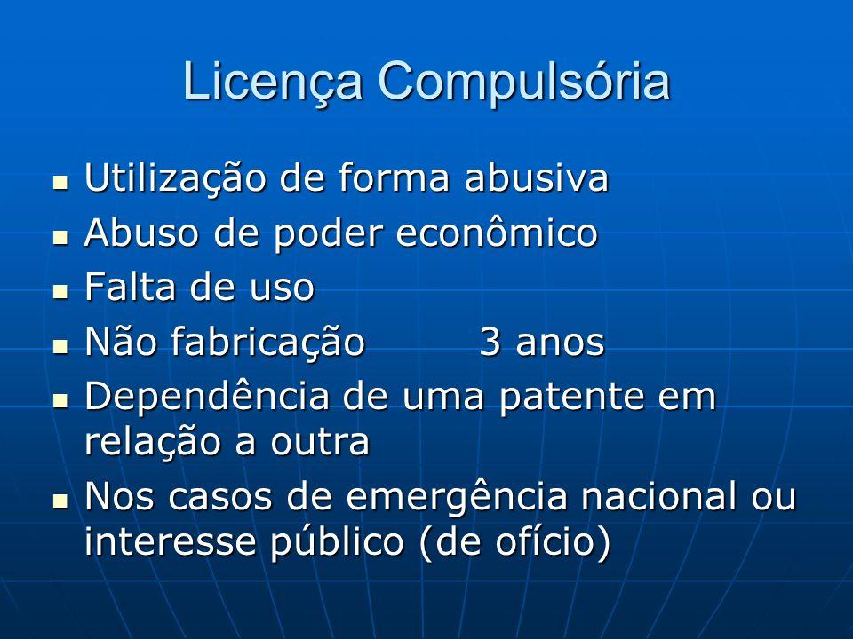 Licença Compulsória Utilização de forma abusiva Utilização de forma abusiva Abuso de poder econômico Abuso de poder econômico Falta de uso Falta de us
