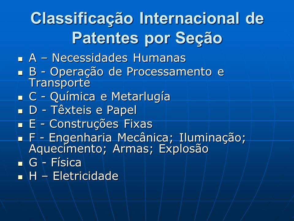 Classificação Internacional de Patentes por Seção A – Necessidades Humanas A – Necessidades Humanas B - Operação de Processamento e Transporte B - Ope