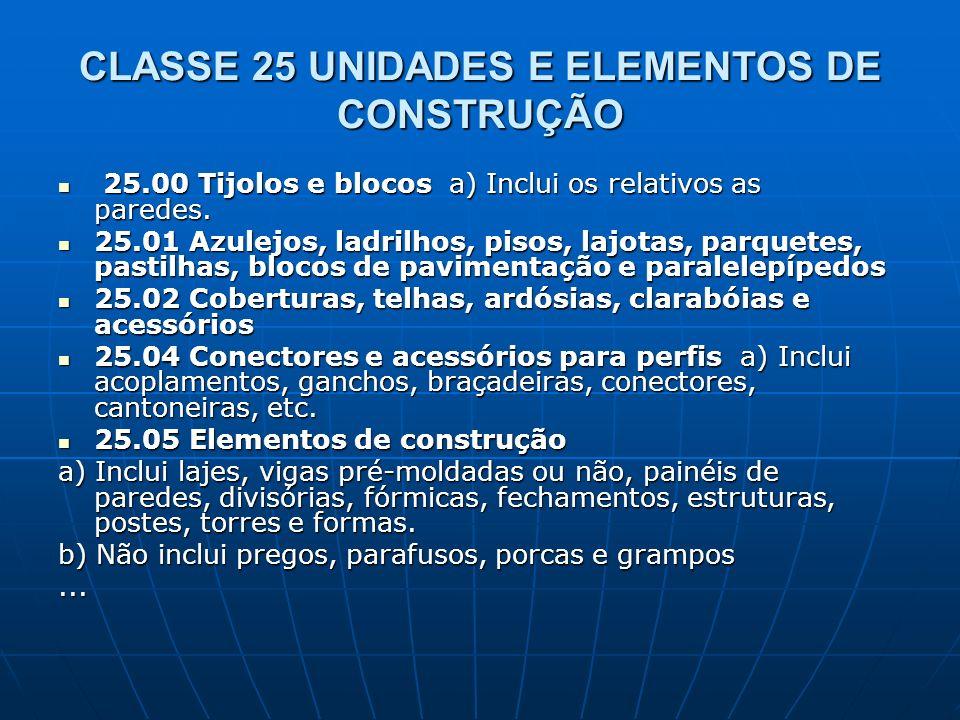 CLASSE 25 UNIDADES E ELEMENTOS DE CONSTRUÇÃO 25.00 Tijolos e blocos a) Inclui os relativos as paredes. 25.00 Tijolos e blocos a) Inclui os relativos a