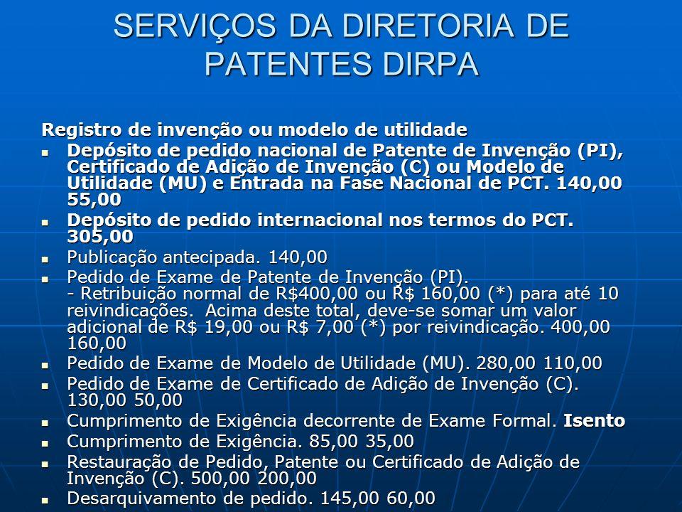SERVIÇOS DA DIRETORIA DE PATENTES DIRPA Registro de invenção ou modelo de utilidade Depósito de pedido nacional de Patente de Invenção (PI), Certifica