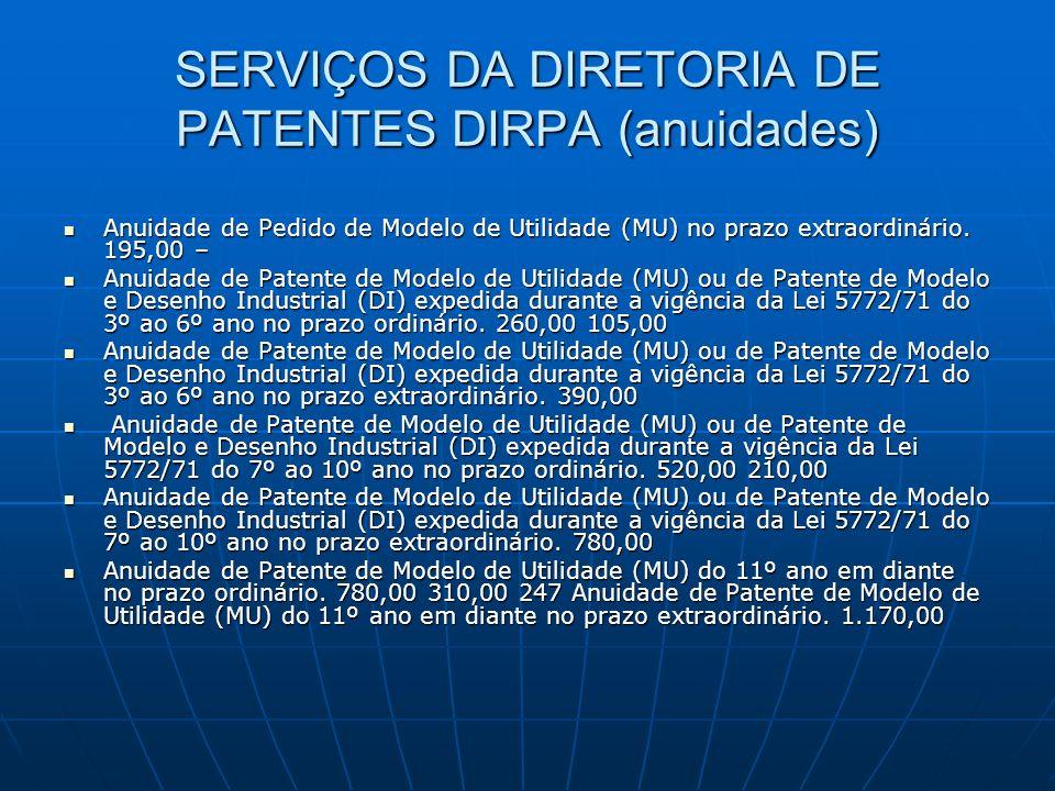 SERVIÇOS DA DIRETORIA DE PATENTES DIRPA (anuidades) Anuidade de Pedido de Modelo de Utilidade (MU) no prazo extraordinário. 195,00 – Anuidade de Pedid