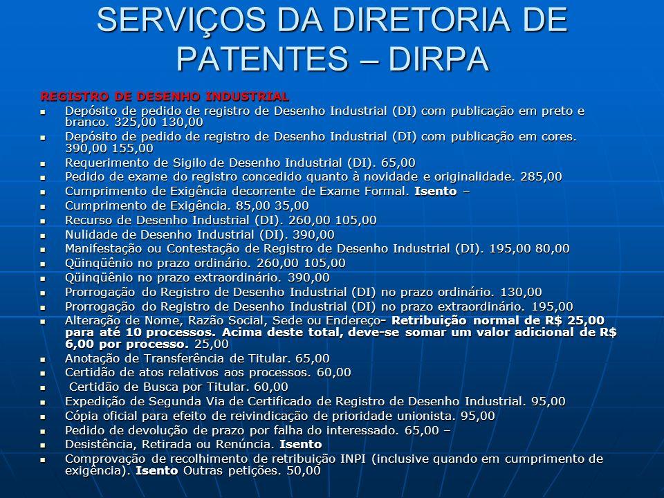 SERVIÇOS DA DIRETORIA DE PATENTES – DIRPA REGISTRO DE DESENHO INDUSTRIAL Depósito de pedido de registro de Desenho Industrial (DI) com publicação em p