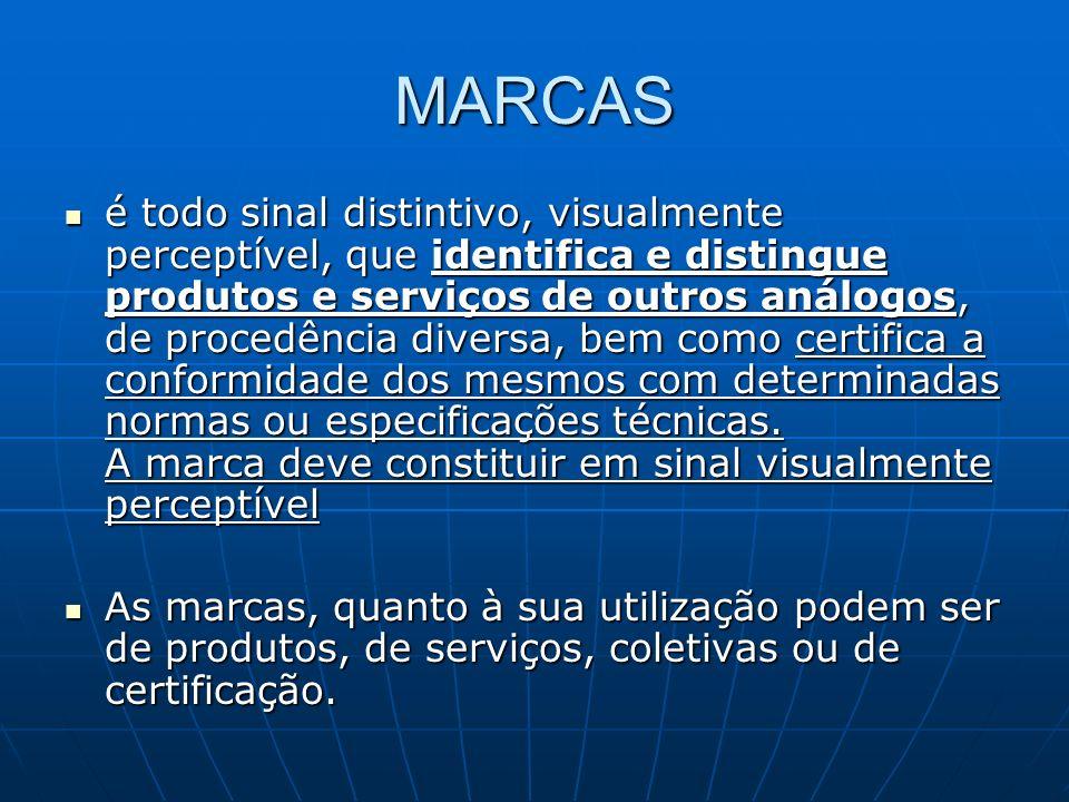 MARCAS é todo sinal distintivo, visualmente perceptível, que identifica e distingue produtos e serviços de outros análogos, de procedência diversa, be