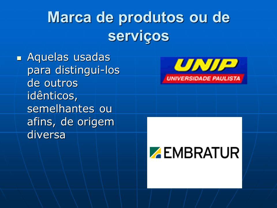 Marca de produtos ou de serviços Aquelas usadas para distingui-los de outros idênticos, semelhantes ou afins, de origem diversa Aquelas usadas para di