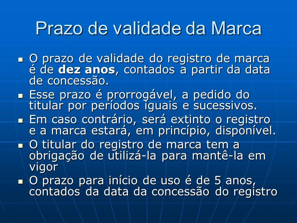 Prazo de validade da Marca O prazo de validade do registro de marca é de dez anos, contados a partir da data de concessão. O prazo de validade do regi