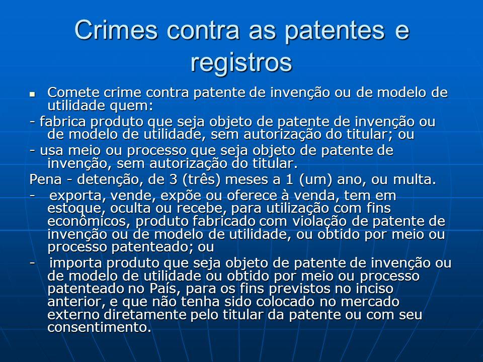 Crimes contra as patentes e registros Comete crime contra patente de invenção ou de modelo de utilidade quem: Comete crime contra patente de invenção
